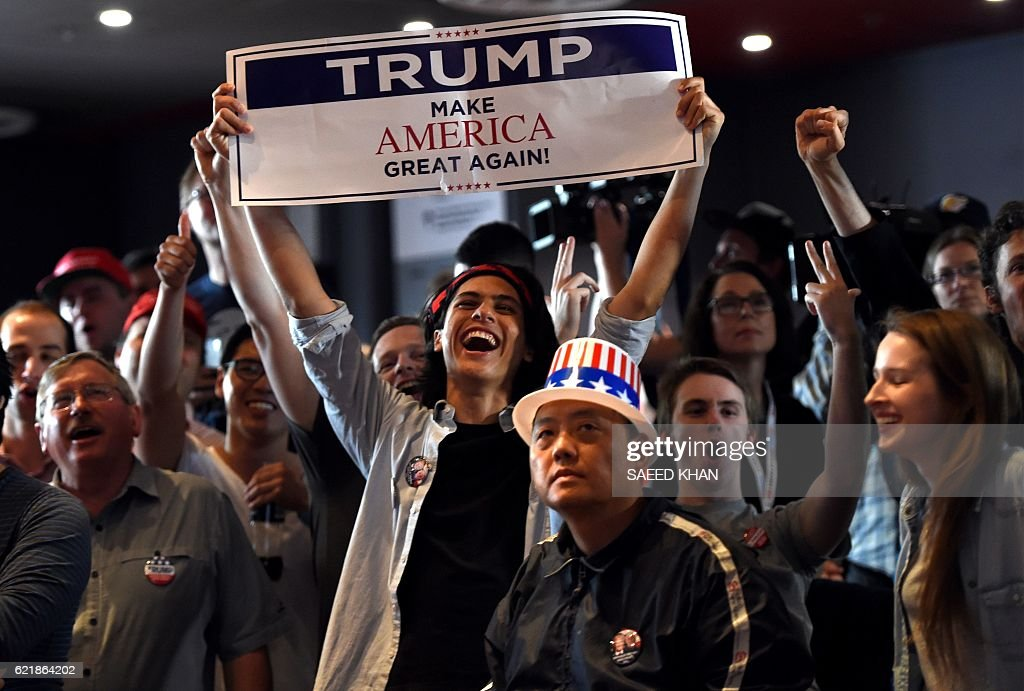 TOPSHOT - Supporters of US Republican candidate Donald Trump celebrate as they watch results at the United States Studies Center at the University of Sydney on November 9, 2016. Australia said November 9 it was crucial for Washington to stay focused on Asia if Donald Trump wins the presidential election, with Canberra keen to see more US involvement in the region, not less. / AFP / SAEED
