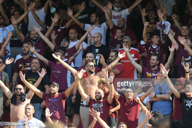 Supporters of US Salernitana 1919 during the presentation of Franck Ribery as the new signing for US Salernitana 1919 at Stadio Arechi, Salerno,...