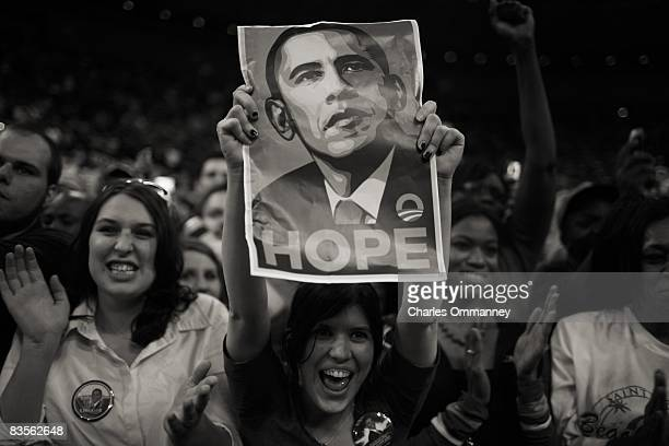 Supporters of US Senator Barack Obama attend a campaign rally February 28 2008 in Fort Worth Texas Obama is campaigning ahead of the March 4...