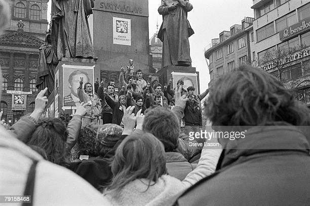 Supporters of Vaclav Havel celebrating his election to the presidency after the 'Velvet Revolution' in which the Communist government of...