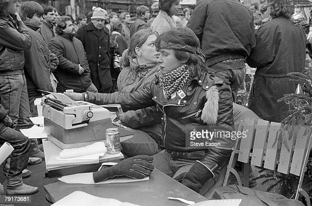 Supporters of Vaclav Havel compose press releases after his election to the presidency during the 'Velvet Revolution' in which the Communist...