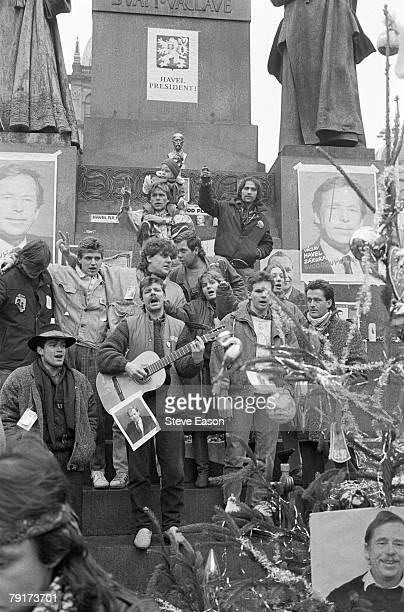 Supporters of Vaclav Havel in Wenceslas Square celebrating his election to the presidency during the 'Velvet Revolution' in which the Communist...