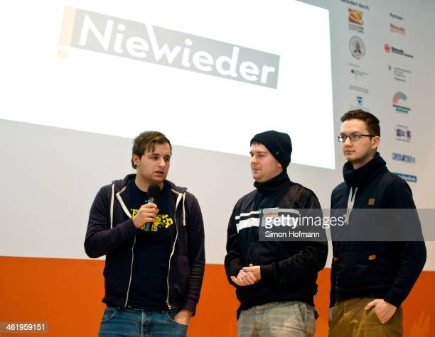 Supporters of various teams address DFB President Wolfgang Niersbach during their speech at the Panel Discussion 'Nie Wieder' at Landessportbund...