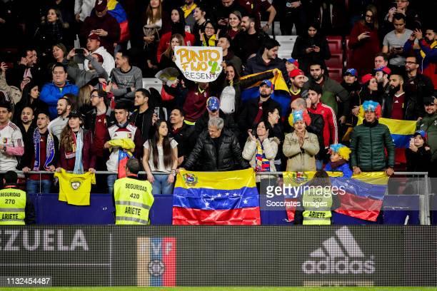 Supporters of Venezuela during the International Friendly match between Argentina v Venezuela at the Estadio Wanda Metropolitano on March 22 2019 in...