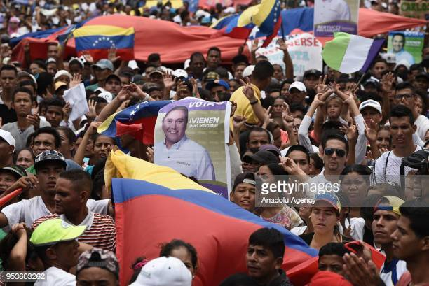 Supporters of Venezuelan opposition presidential candidate Javier Bertucci are seen during a campaing rally in Valencia on May 1 2018
