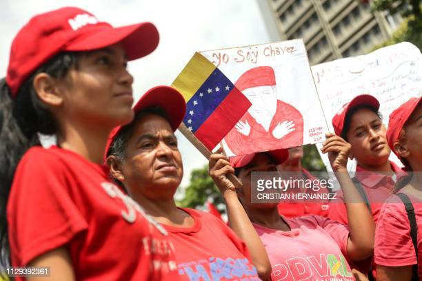Supporters of Venezuelan President Nicolas Maduro demonstrate in Caracas on March 9 2019 Thousands of Venezuelans are expected to protest once again...