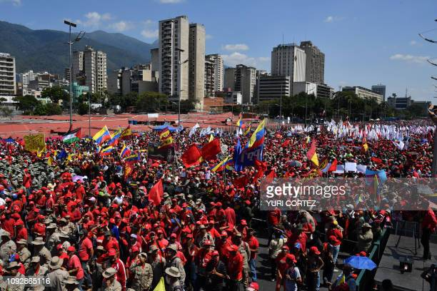 Supporters of Venezuelan President Nicolas Maduro gather to mark the 20th anniversary of the rise of power of the late Hugo Chavez the leftist...