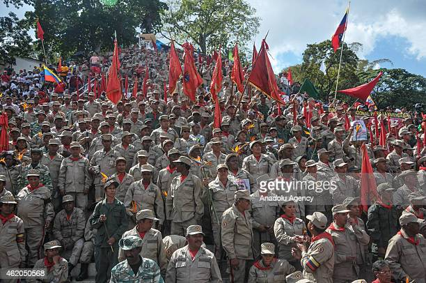 Supporters of Venezuelan President Nicolas Maduro participate in the March of the Undefeated to commemorate the 57th anniversary of the overthrow of...