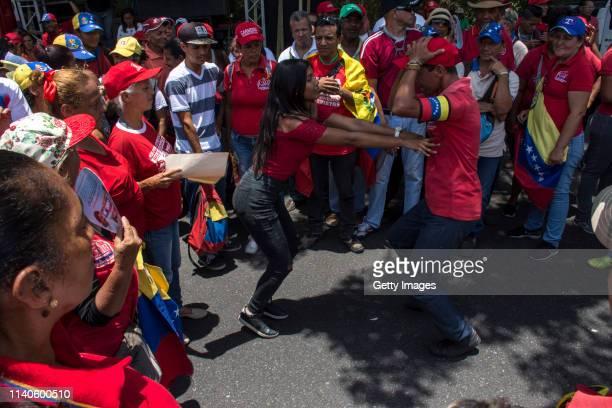 Supporters of Venezuelan President Nicolás Maduro dance during a demonstration on May 1 2019 in Caracas Venezuela Yesterday Venezuelan opposition...