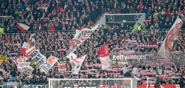 Supporters of VfB Stuttgart are seen with banner during the Second Bundesliga match between VfB Stuttgart and 1. FC Heidenheim 1846 at Mercedes-Benz...