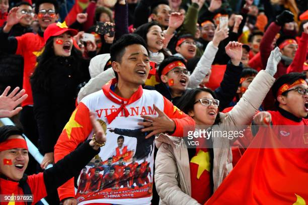 Supporters of Vietnam cheer during the AFC U23 Championship semifinal match between Qatar and Vietnam at Changzhou Olympic Sports Center on January...