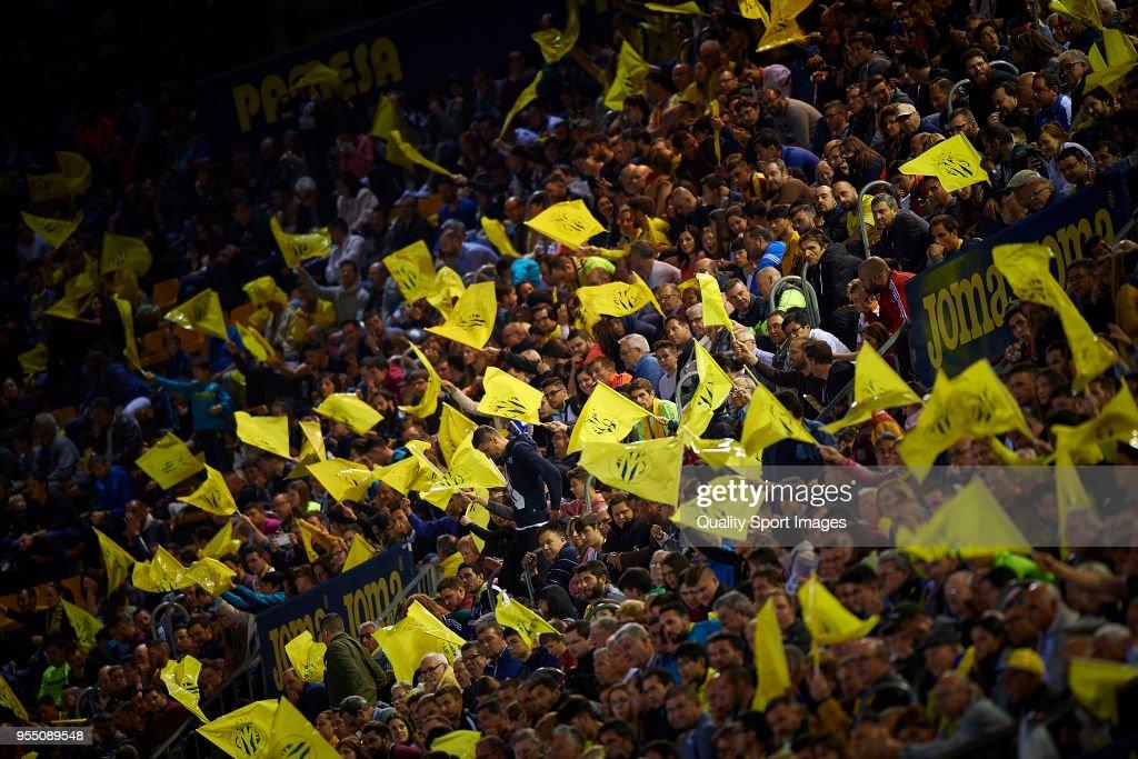 Supporters of Villarreal during the La Liga match between Villarreal and Valencia at Estadio de la Ceramica on May 5, 2018 in Villarreal, Spain.