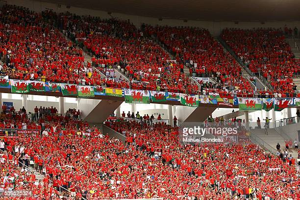 Supporters of Wales during GroupB preliminary round between Wales and Slovakia at Stade Matmut Atlantique on June 11 2016 in Bordeaux France