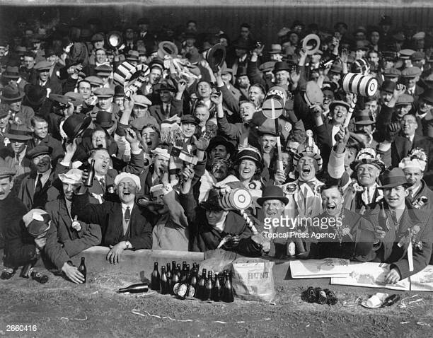 Supporters of West Ham United FC at a FA Cup semifinal match against Everton at Wolverhampton Wanderers ground The Hawthorns