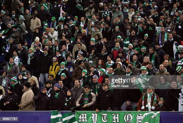 Supporters of Wien are pictured before the UEFA Europa League Group C match between Hamburger SV and SK Rapid Wien at HSH Nordbank Arena on December...