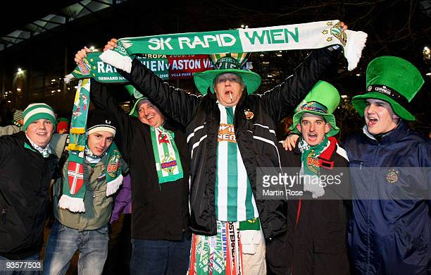 Supporters of Wien are pictured in front of the stadium prior to the UEFA Europa League Group C match between Hamburger SV and SK Rapid Wien at HSH...