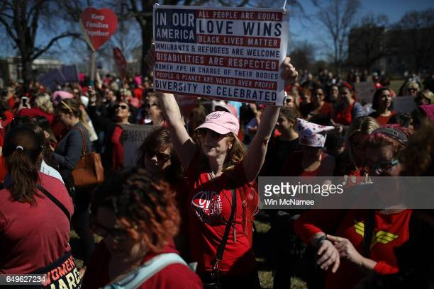 Supporters of women's rights gather for a press conference outside the US Capitol where women members of the House Democratic caucus marked...