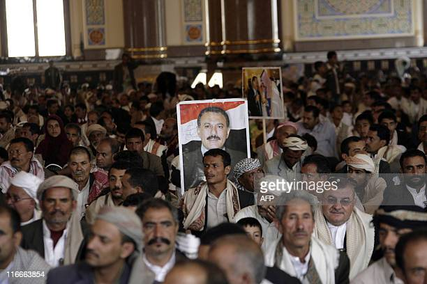 Supporters of Yemeni President Ali Abdullah Saleh attend Friday prayers at alSaleh mosque in Sanaa on June 17 as a top Saudi official announced that...