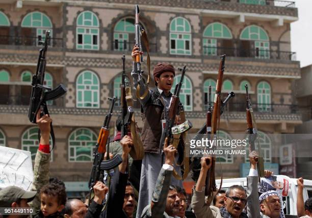 Supporters of Yemen's Huthi rebels attend a rally in Sanaa on April 26 2018 against the killing of their political chief Saleh alSammad in a Saudiled...