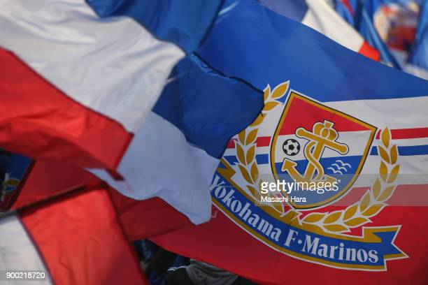 Supporters of Yokohama F.Marinos wave flags prior to the 97th All Japan Football Championship final between Cerezo Osaka and Yokohama F.Marinos at...
