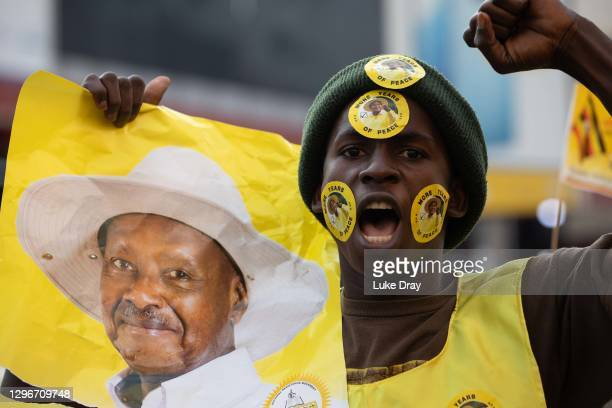 Supporters of Yoweri Museveni celebrate his win in the presidential election on January 16, 2021 in Kampala, Uganda. Pop singer turned politician...