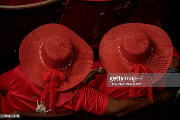TOPSHOT Supporters of Zimbabwe's main opposition party The Movement for Democratic Change attend a memorial service to mourn the passing of former...