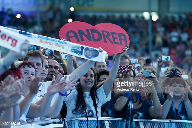 Supporters pictured during the Andrea Berg Open Air festival 'Heimspiel' at mechatronik Arena on July 19 2014 in Grossaspach Germany