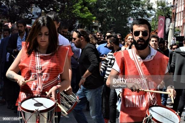 Supporters play drums during a march staged by the main opposition Republican People's Party for the early presidential and parliamentary elections...