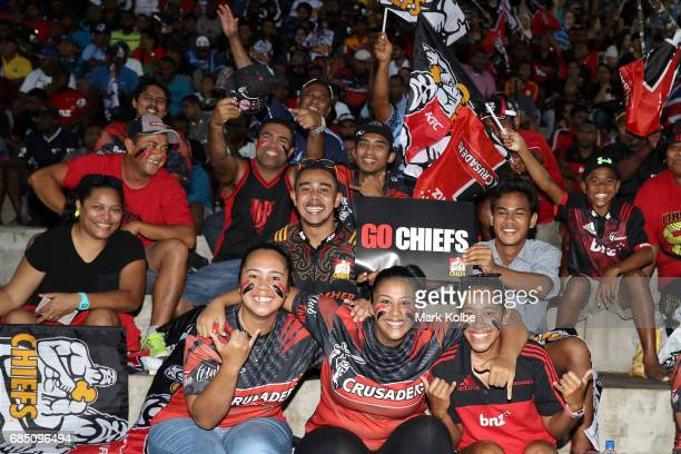 A supporters pose as they wait for kickoff in the round 13 Super Rugby match between the Chiefs and the Crusaders at ANZ Stadium on May 19 2017 in...