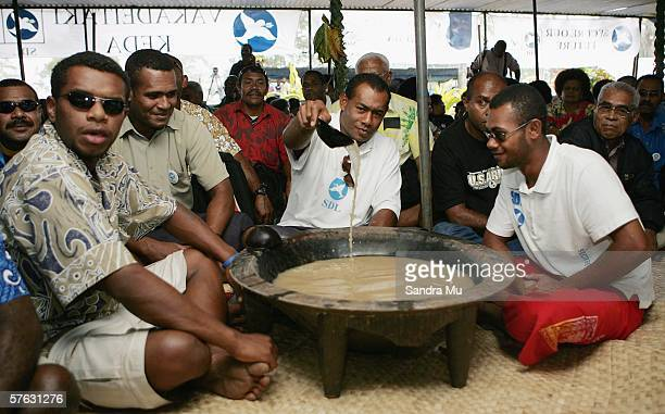 SDL supporters prepare the kava for the arrival of reelected Prime Minister Laisenia Qarase to the SDL shed situated outside Suva Grammar School...