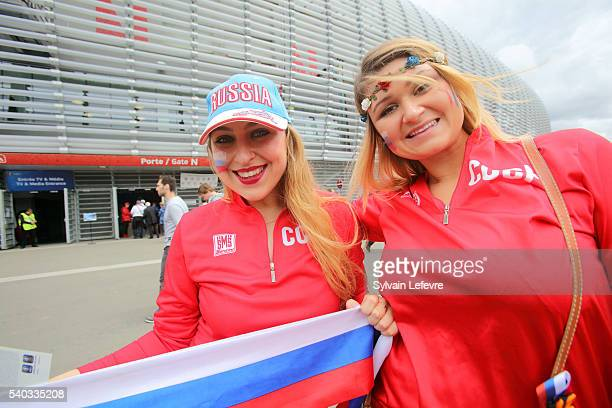 Supporters prior the UEFA EURO 2016 Group B match between Russia and Slovakia at Stade PierreMauroy on June 15 2016 in Lille France