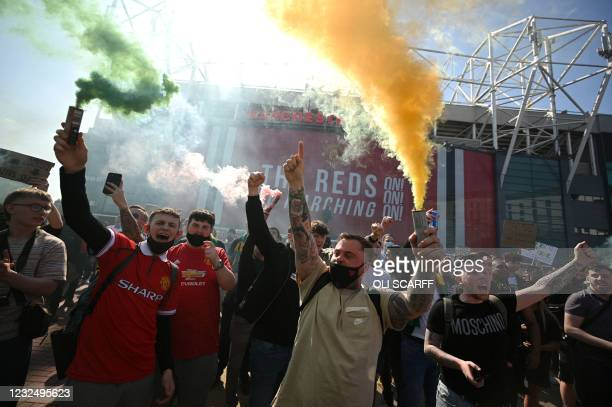 Supporters protest against Manchester United's owners, outside English Premier League club Manchester United's Old Trafford stadium in Manchester,...