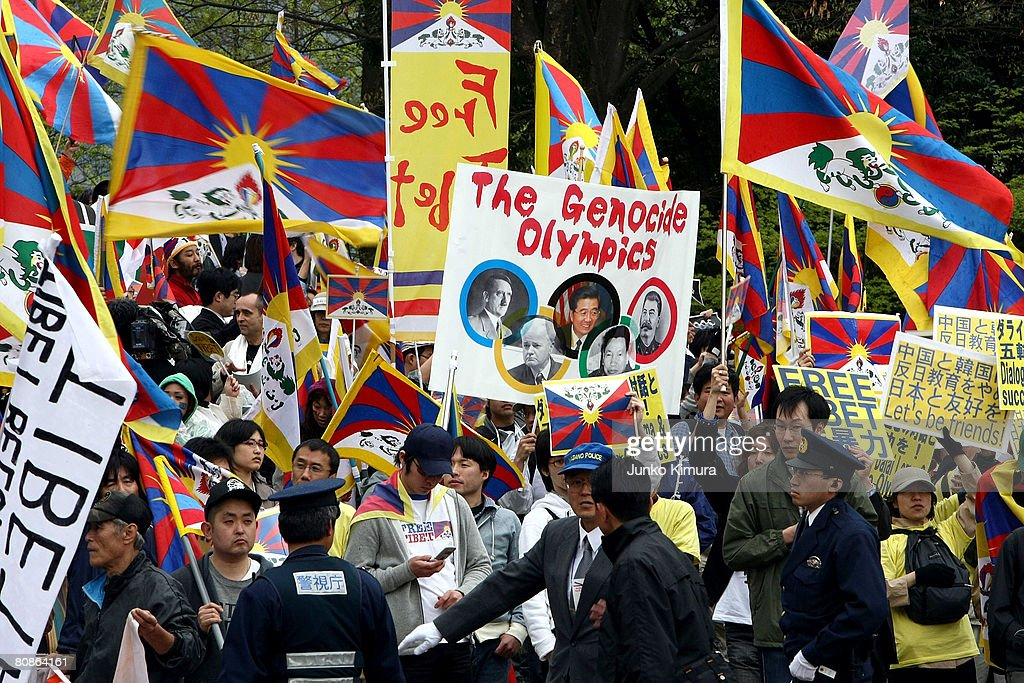 Supporters protest for Tibet at Wakazato Park during the Olympic Torch relay on April 26, 2008 in Nagano, Japan. The torch's route ends next week after stops in Vietnam and North Korea.