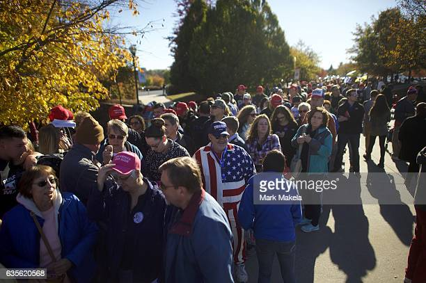 Supporters queue outside before a rally for Republican Presidential nominee Donald J Trump November 4 2016 at Giant Center in Hershey Pennsylvania...