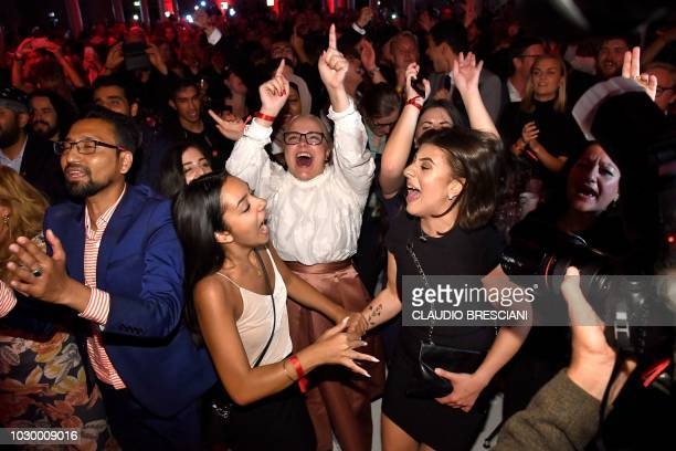 TOPSHOT Supporters react at the Social Democratic Party's election party in Stockholm on September 9 2018 Sweden's Social Democrats are tipped to be...