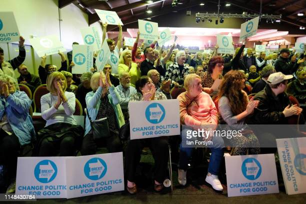 Supporters react during speeches at a Brexit Party campaign event at Rainton Meadows Arena on May 11 2019 in Houghton Le Spring United Kingdom The...