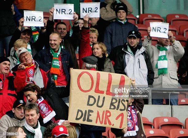 Supporters show their support for Oliver Kahn during the Bundesliga match between Werder Bremen and Bayern Munich at the Weser Stadium on April 8...