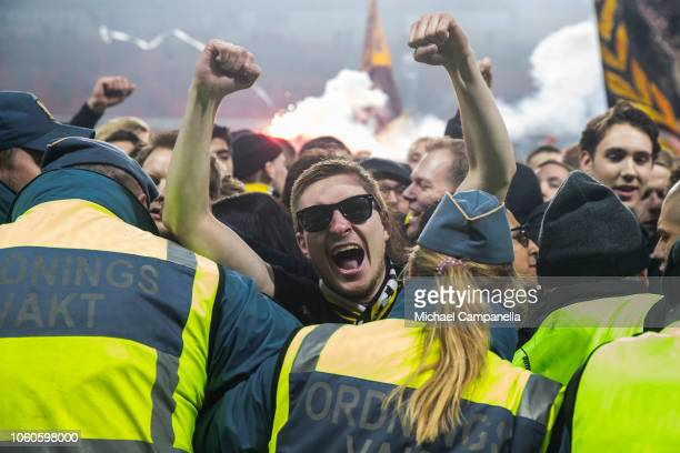 AIK supporters storm the pitch after winning the 2018 Allsvenskan season during an Allsvenskan match between Kalmar FF and AIK at Guldfageln Arena on...