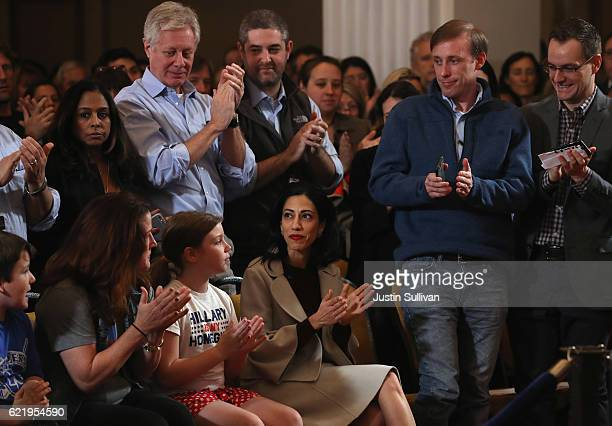Supporters surround staffer Huma Abedin as former Secretary of State Hillary Clinton concedes the presidential election at the New Yorker Hotel on...