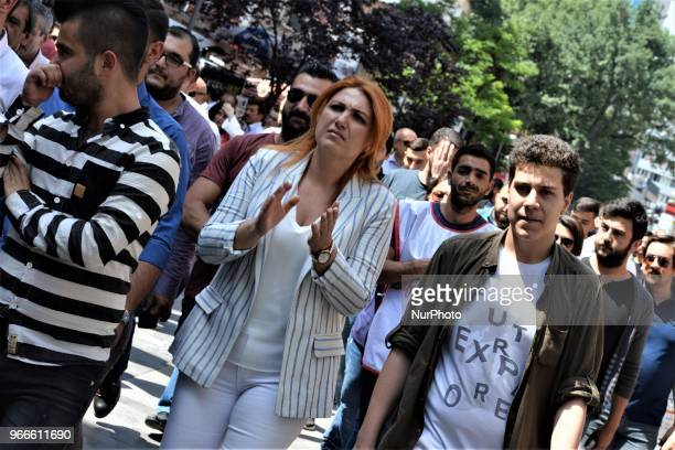 Supporters take part in a march staged by the main opposition Republican People's Party for the early presidential and parliamentary elections in...