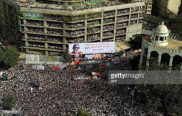 Supporters take part in the funeral procession of Indian Hindu nationalist Shiv Sena party leader Bal Thackeray in Mumbai on November 18 2012 Huge...