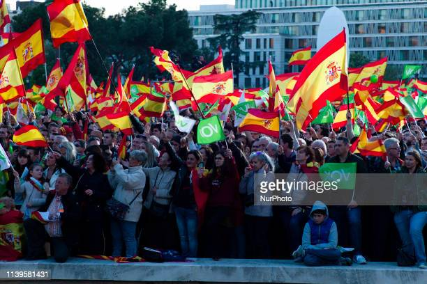Supporters take part in the VOX closing rally on April 26 2019 in Madrid Spain Spaniards go to the polls to elect 350 members of the parliament and...