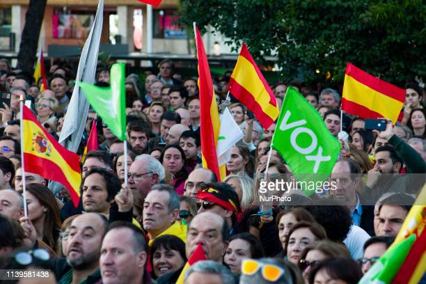 Supporters take part in the VOX closing rally on April 26, 2019 in Madrid, Spain. Spaniards go to the polls to elect 350 members of the parliament...