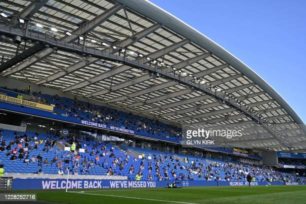Supporters take their socially-distanced seats ahead of the pre-season friendly football match between Brighton and Hove Albion and Chelsea at the...