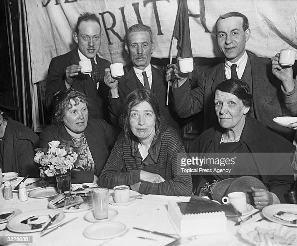 Supporters toast suffragette campaigner Sylvia Pankhurst at a breakfast to celebrate her release from prison east London May 1921 Pankhurst had been...