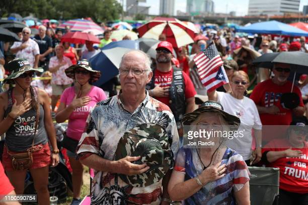 Supporters turn out hours before US President Donald Trump is to appear at a rally to officially announce his 2020 reelection bid at the Amway Center...