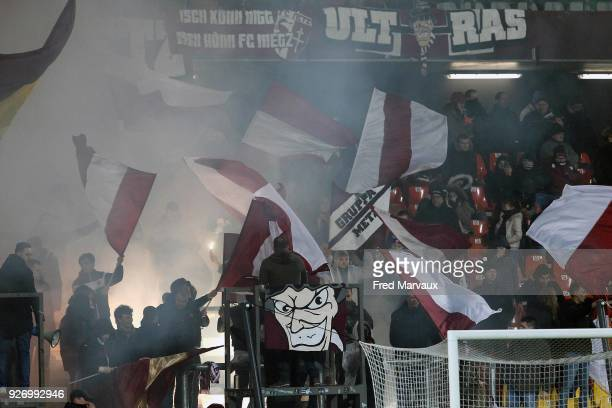 supporters ultras of Metz during the Ligue 1 match between Metz and Toulouse at on March 3 2018 in Metz