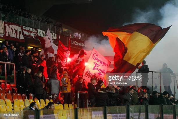 supporters ultras of Metz with fumigene during the Ligue 1 match between Metz and Toulouse at on March 3 2018 in Metz