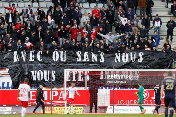 Supporters ultras of Nancy during the Ligue 2 match between As Nancy Lorraine and Reims on March 31 2018 in Nancy France