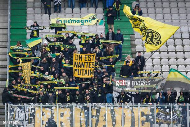 supporters ultras of Nantes during the Ligue 1 match between Metz and Nantes at on March 18 2018 in Metz